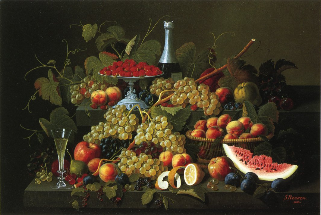 Still Life with Fruit and Champagne 1853 | Severin Roesen | oil painting