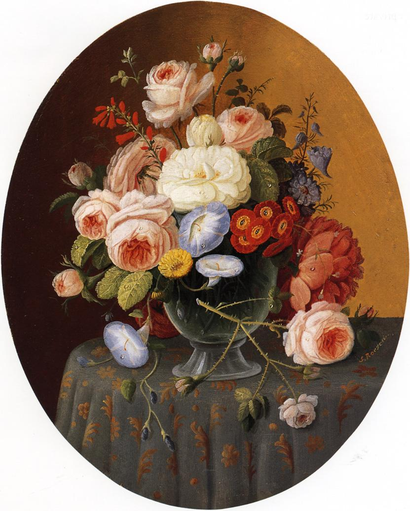 Floral Arrangement in a Glass Vase on a Clothed Table Date unknown | Severin Roesen | oil painting