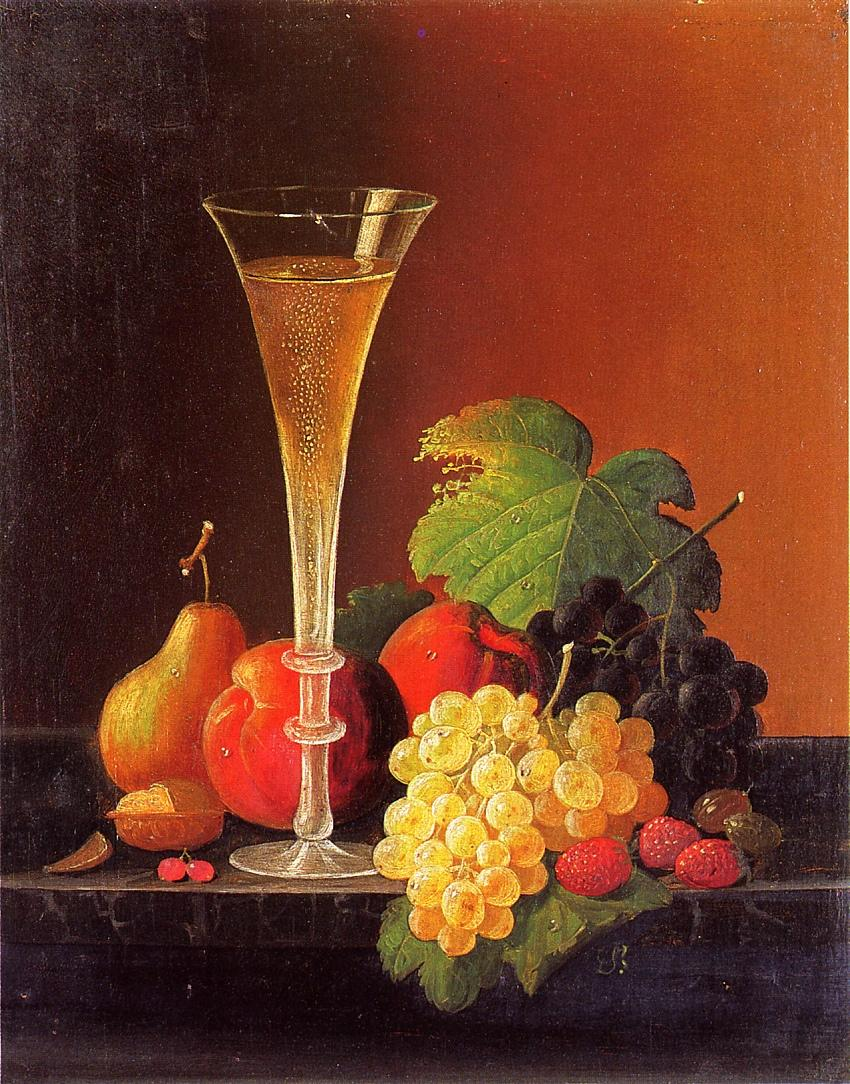 Fruit and a Glass of Champagne on a Tabletop Date unknown | Severin Roesen | oil painting