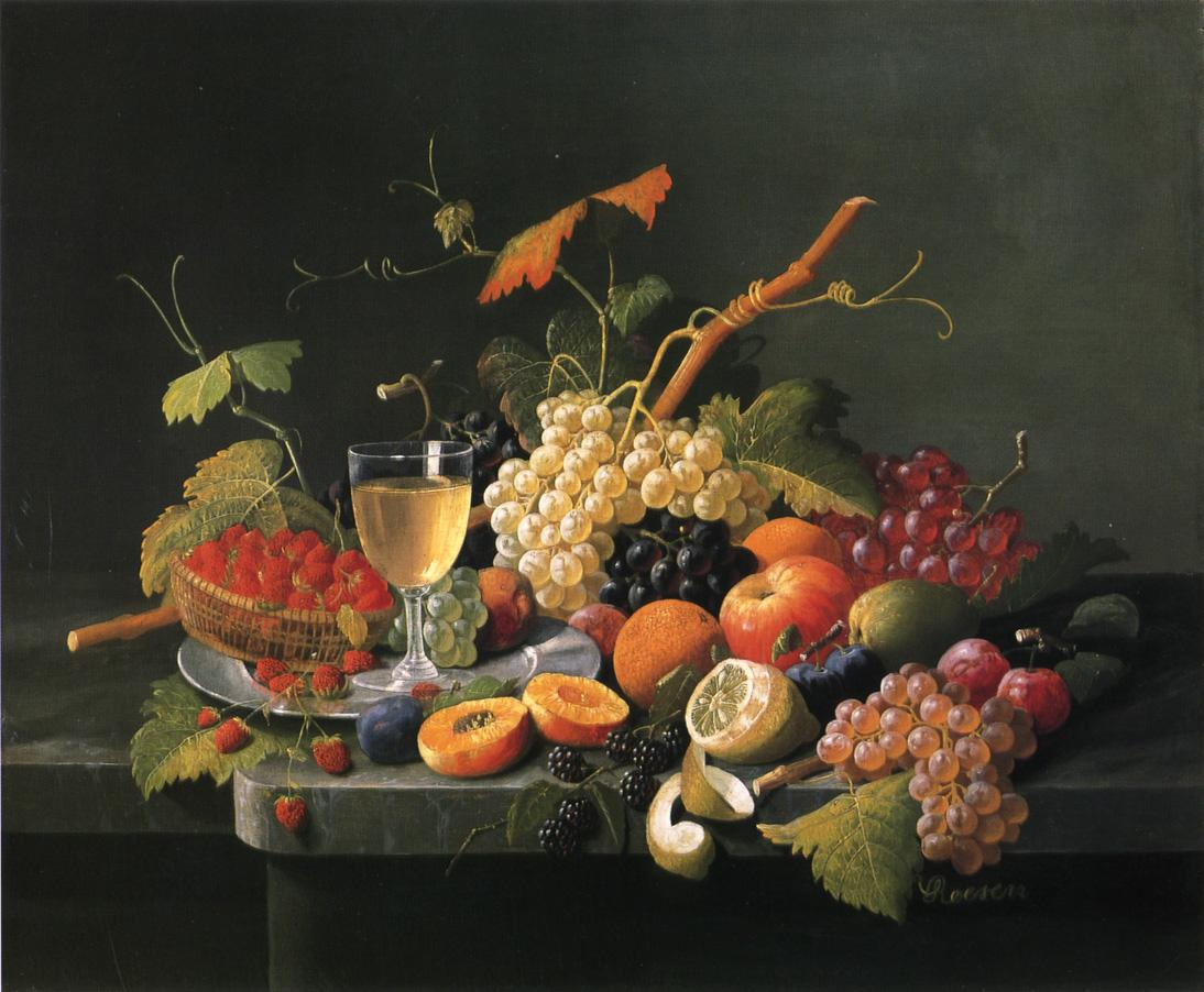Fruit on a Marble Ledge with Wine Glass Date unknown | Severin Roesen | oil painting