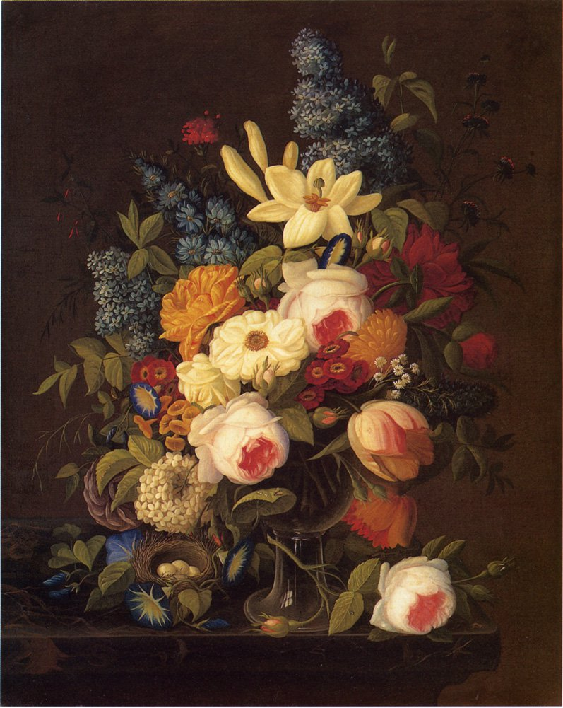 Floral Still Life with Nest of Eggs Date unknown | Severin Roesen | oil painting