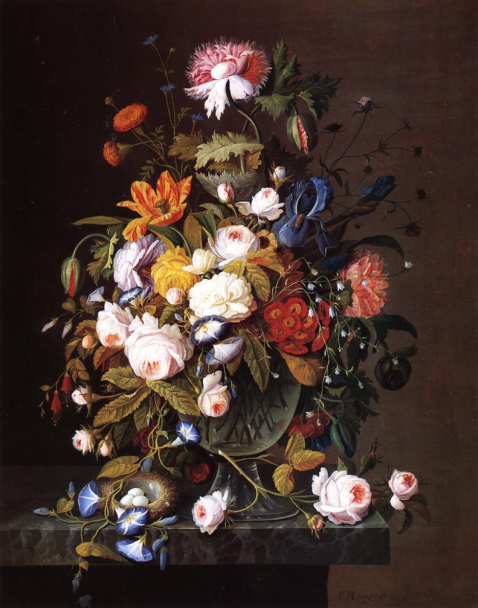 Floral Still Life with Bird's Nest Date unknown | Severin Roesen | oil painting