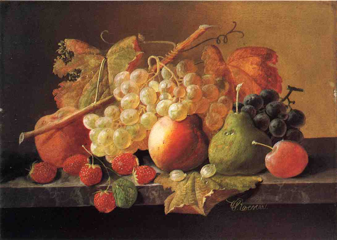 Fruit on a Marble Ledge Date unknown | Severin Roesen | oil painting