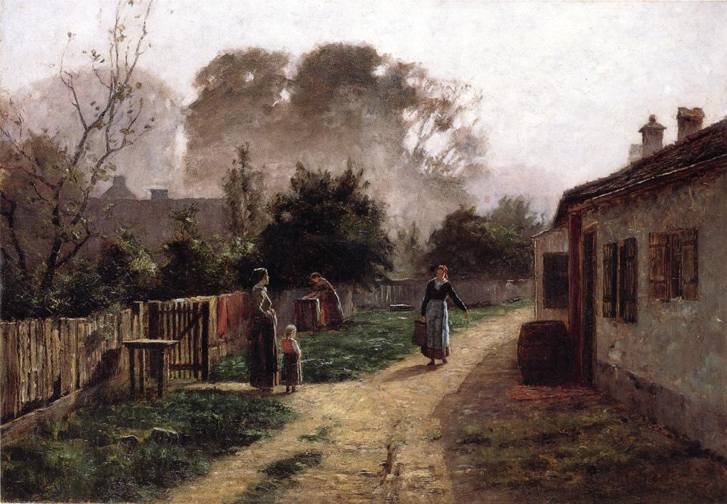 Village Scene 1885 | Theodore Clement Steele | oil painting