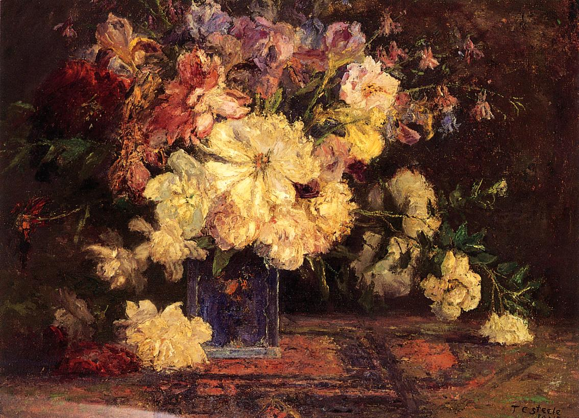 Still Life with Peonies 1915   Theodore Clement Steele   oil painting
