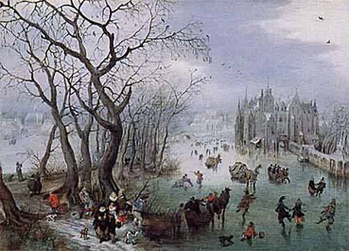 Winter Landscape with Skaters near a Castle 1615 | Adriaen Van De Venne | oil painting