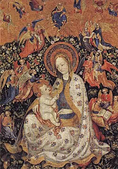 The Virgin and Child with Angels in a Garden with a Rose Hedge about 1430 | Stefano Da Verona | oil painting