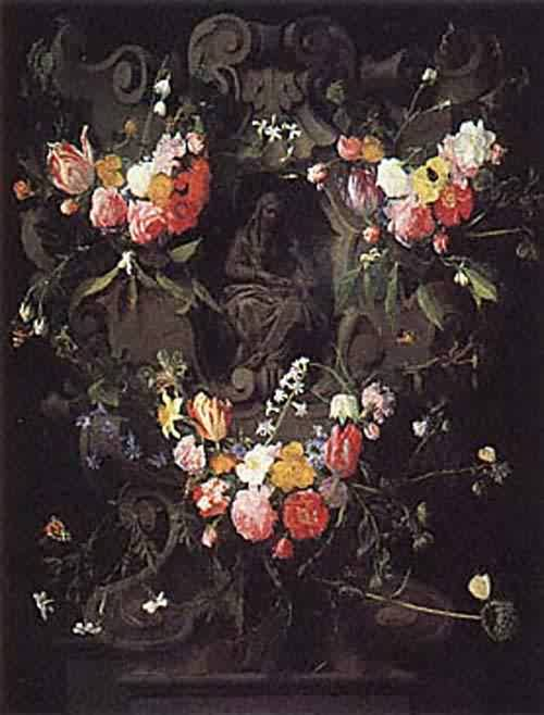 A Garland of Flowers with the Education of the Virgin about 1645 | Daniel Seghers and Erasmus Quellinus II | oil painting