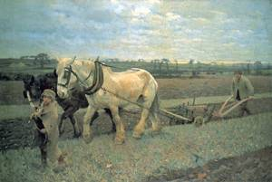 Ploughing 1889 | Sir George Clausen | oil painting
