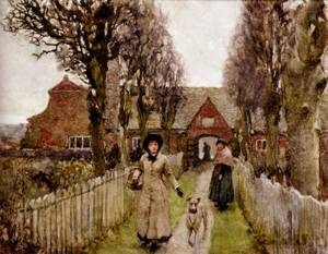 Gaywood Almshouses Kings Lynn 1881 | Sir George Clausen | oil painting
