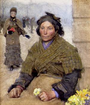 Flora The Gypsy Flower Seller | Sir George Clausen | oil painting