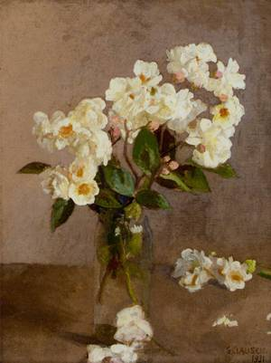 Little White Roses | Sir George Clausen | oil painting