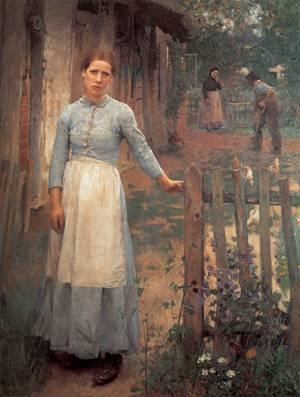 The Girl at the Gate 1889 | Sir George Clausen | oil painting