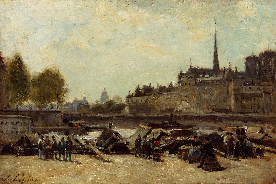 The Apple Marker Quai de Gesvres and Quay de l Hotel de Ville near Pont d Arcole 1884 1888 | Stanislas Lepine | oil painting