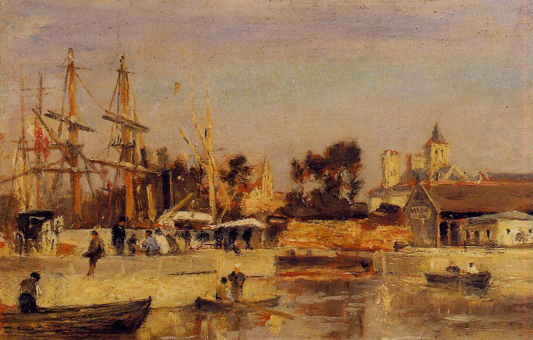 A Corner of the Port Caen Date unknown | Stanislas Lepine | oil painting