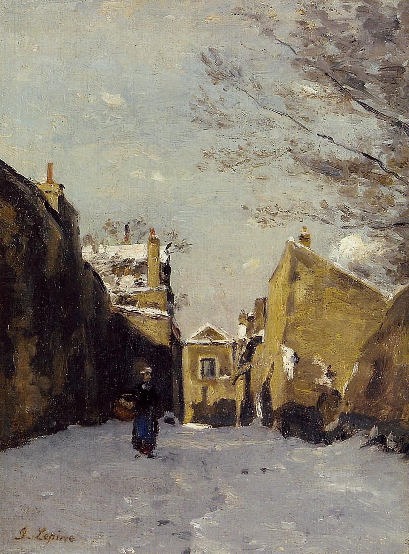 Street in Montmartre Snow Effect 1878 | Stanislas Lepine | oil painting