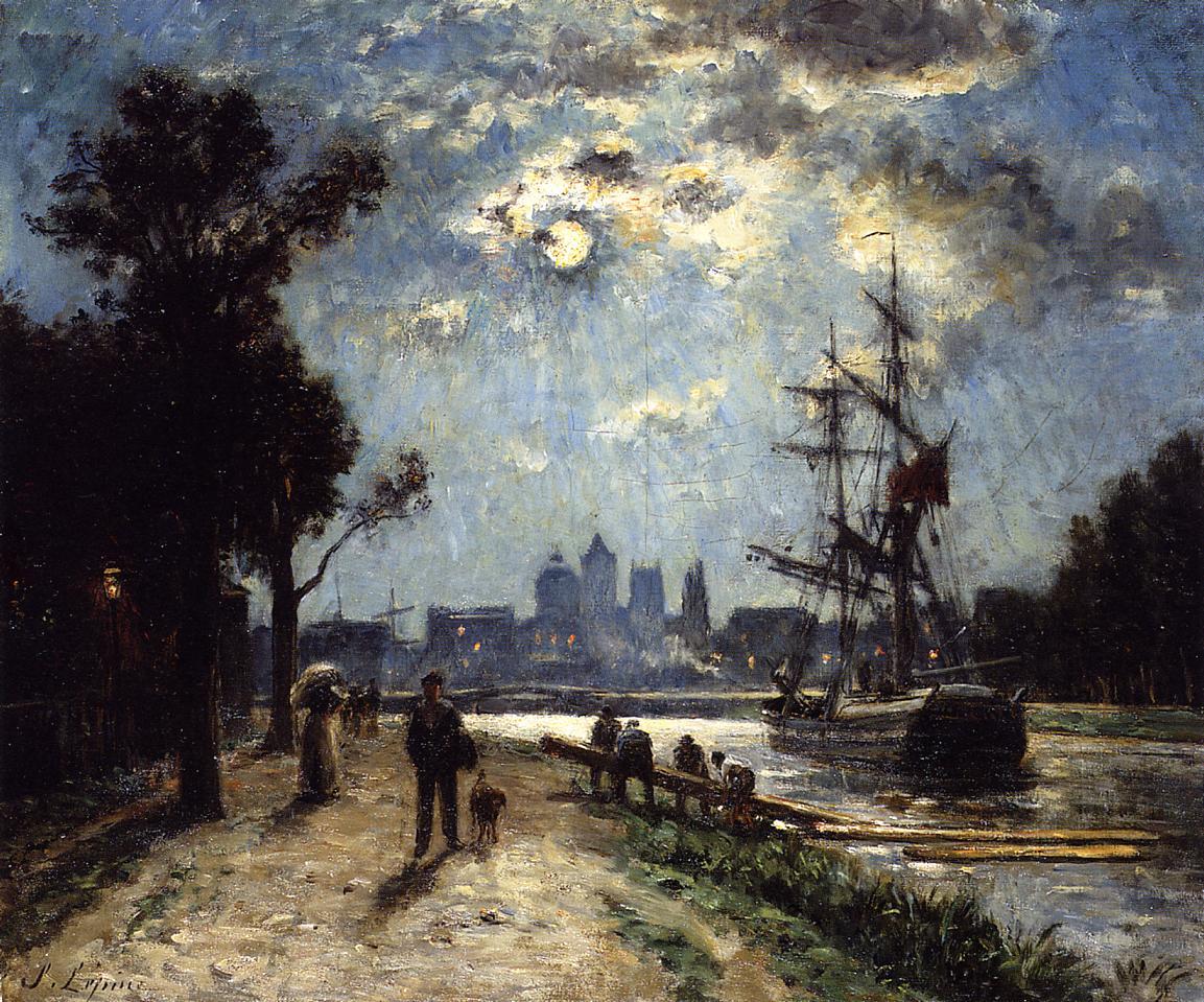 Caen Le Long de l Orne peint depuis le cours Caffarelli effet de lune 1872 1876 | Stanislas Lepine | oil painting
