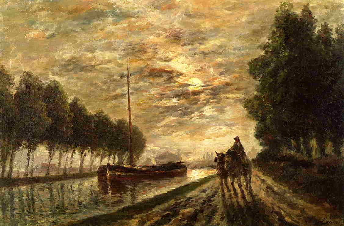 The Ourcq Canal Towpath Moonlight 1876 1882 | Stanislas Lepine | oil painting