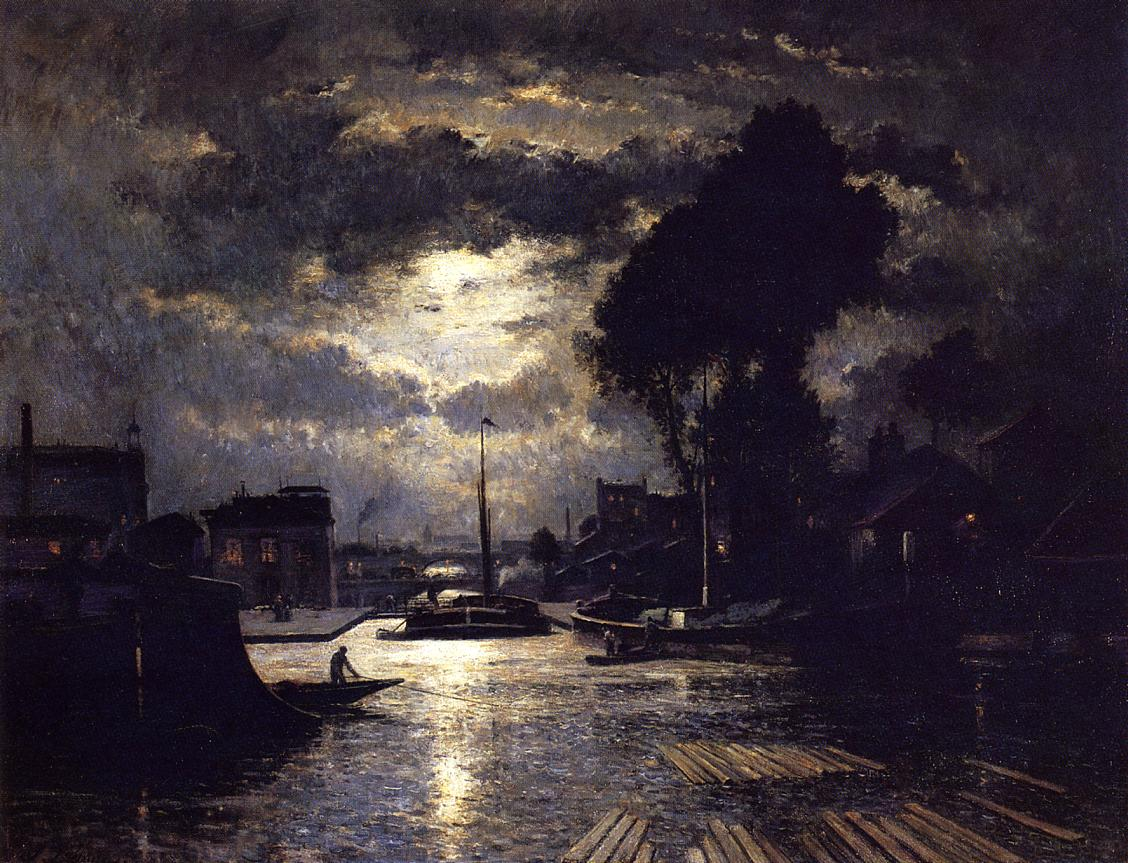 Canal in Saint Denis Effect of Moonlight 1876 1879 | Stanislas Lepine | oil painting