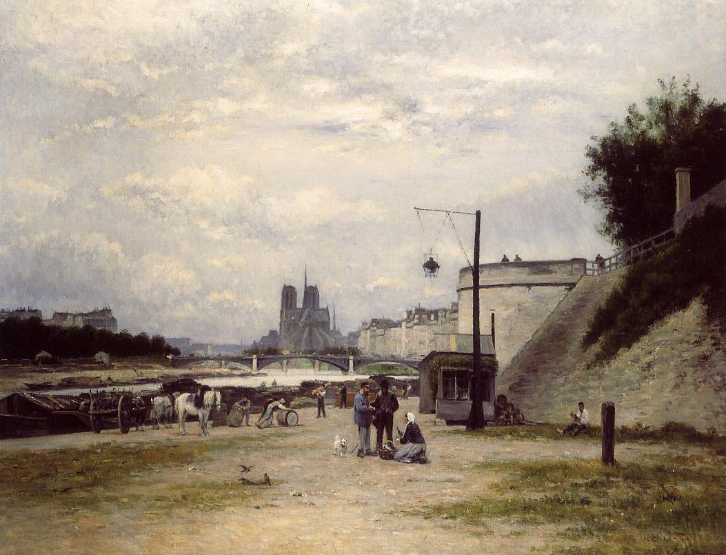 The Louviers Quay at Pont Sully aka The Henri IV Quay Paris 1875 | Stanislas Lepine | oil painting