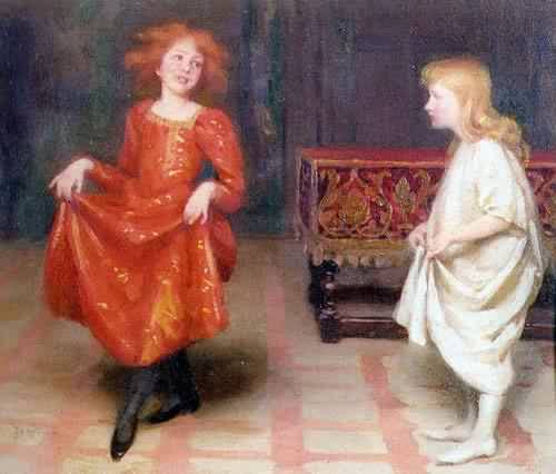 The Dancing Lesson | Thomas Cooper Gotch | oil painting
