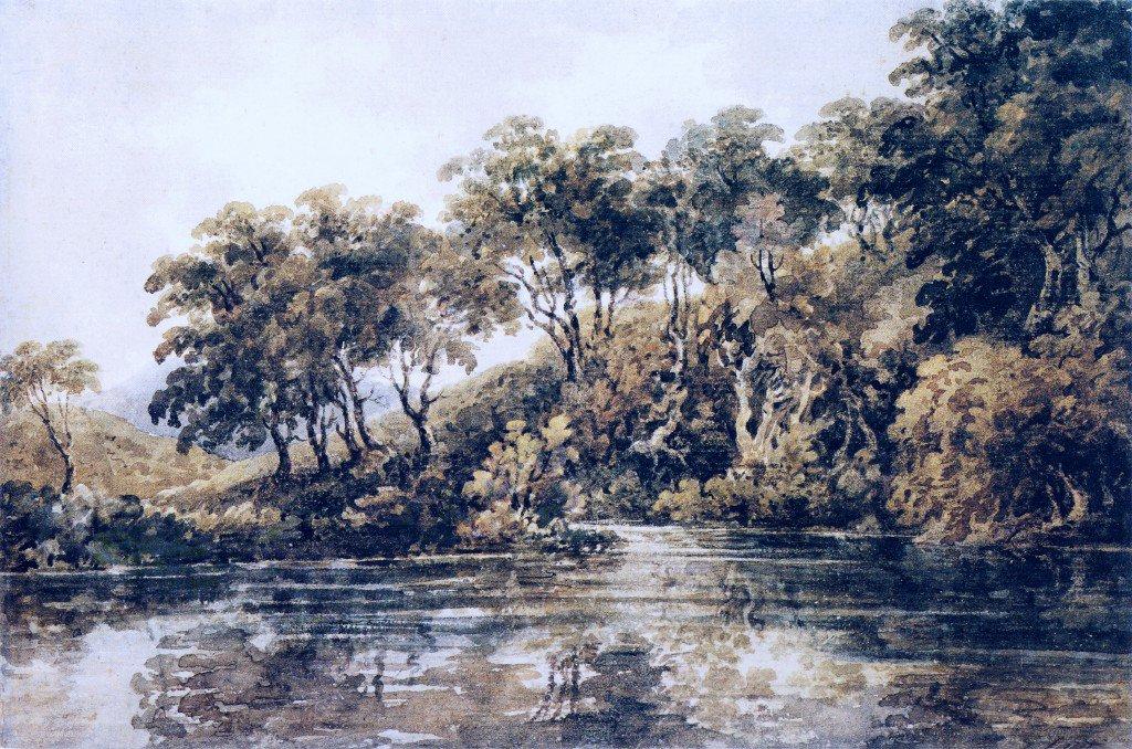 Trees and Pond near Bromley Kent | Thomas Girtin | oil painting