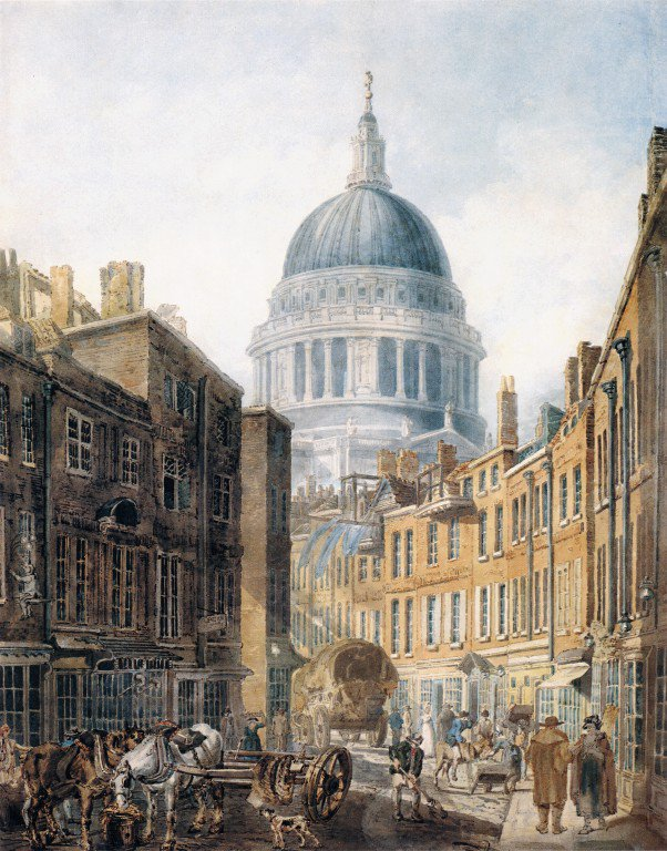 St Pauls Cathedral from St Martins le Grand | Thomas Girtin | oil painting