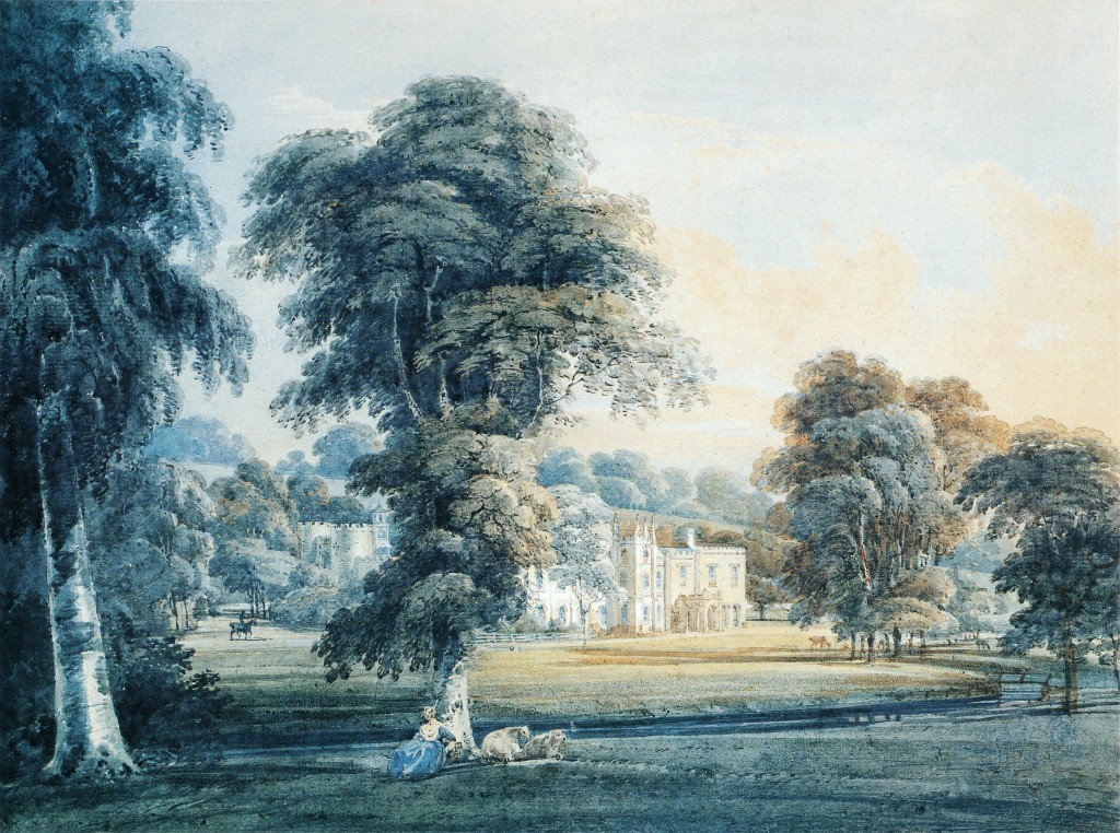 Chalfont House Buckinghamshire with a Shepherdess | Thomas Girtin | oil painting