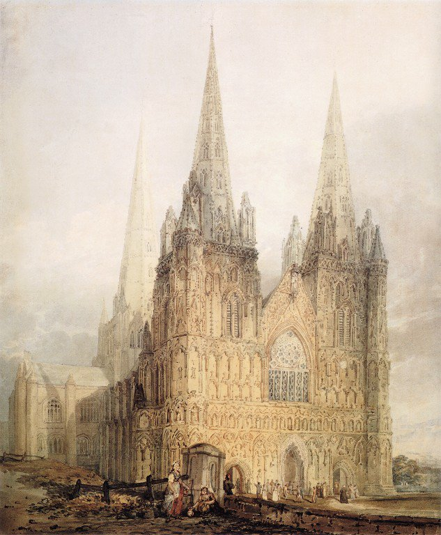 The West Front of Lichfield Cathedral | Thomas Girtin | oil painting
