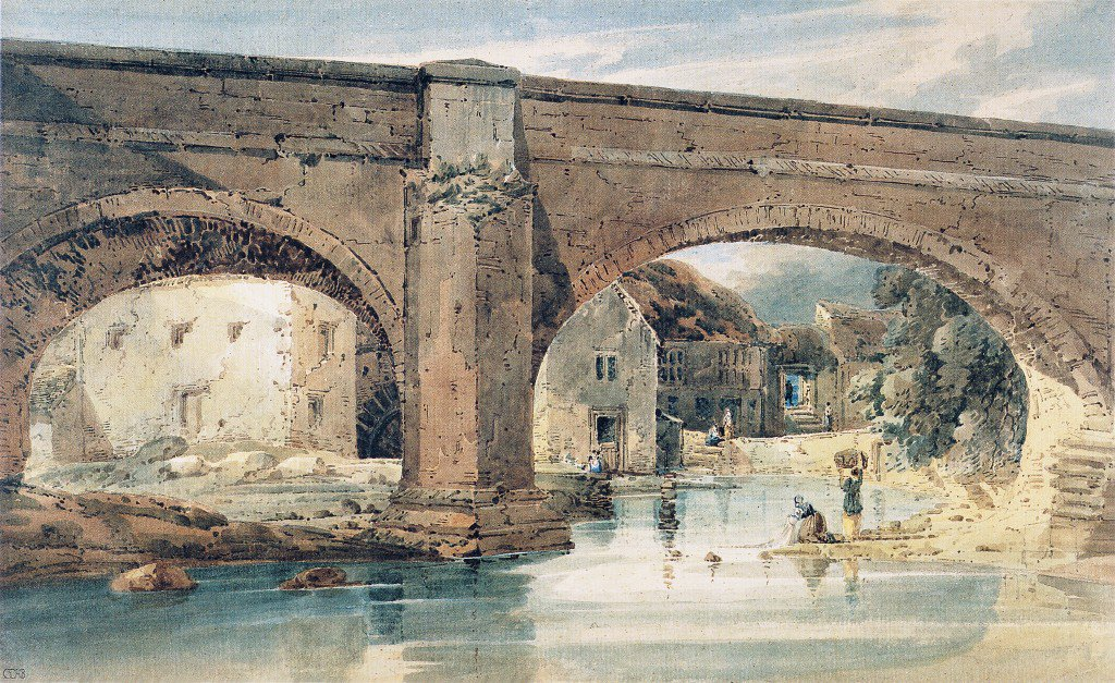 Wetherby Bridge Yorkshire looking through the bridge to the mills | Thomas Girtin | oil painting
