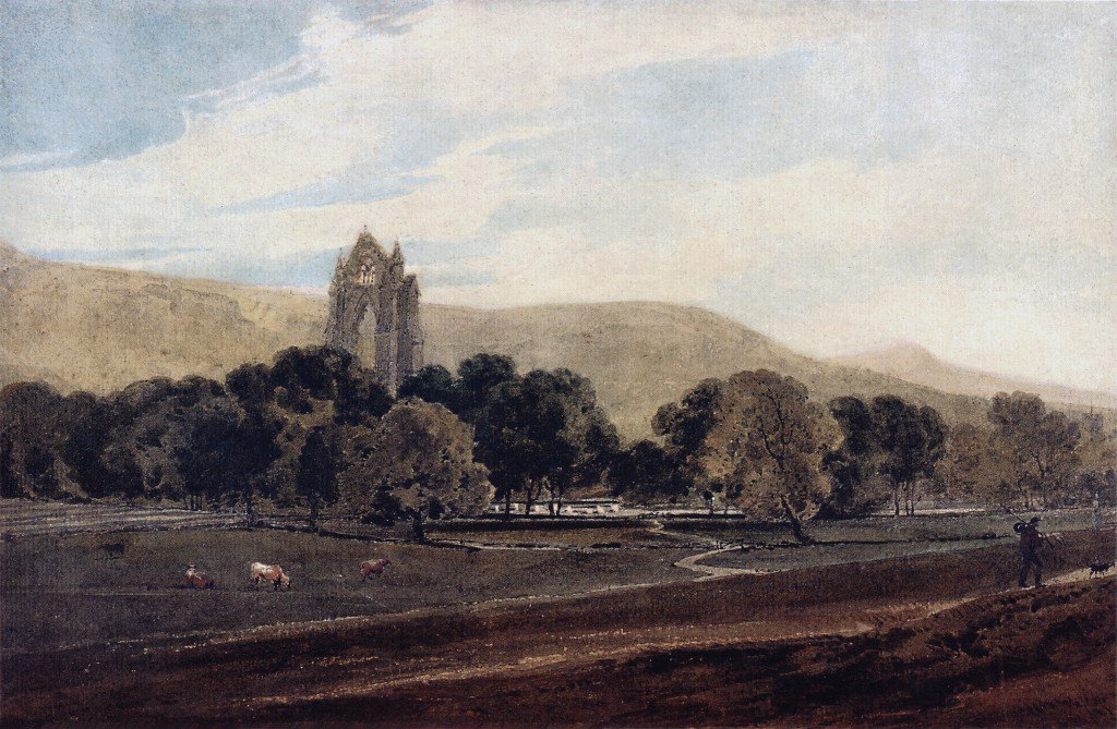 Distant View of Guisborough Priory Yorkshire | Thomas Girtin | oil painting