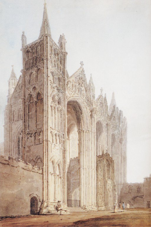 The West Front of Peterborough Cathedral   Thomas Girtin   oil painting