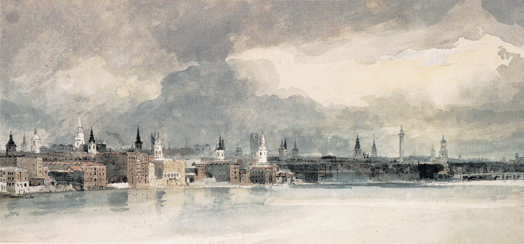 Study for the Eidometropolis the Thames from Queenhithe to London Bridge | Thomas Girtin | oil painting