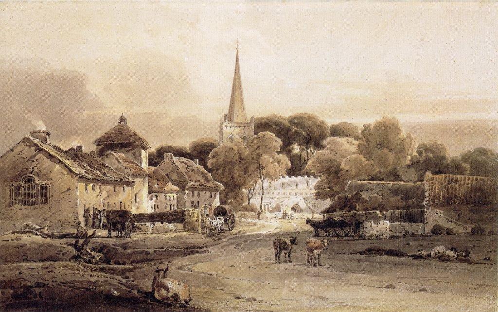 Village Street and Church Spire   Thomas Girtin   oil painting
