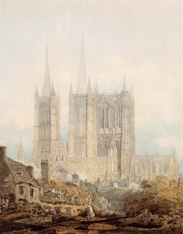 Lincoln Cathedral from the West   Thomas Girtin   oil painting