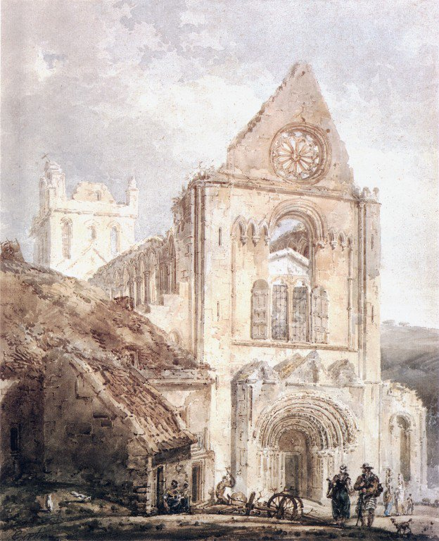 The West Front of Jedburgh Abbey Scotland   Thomas Girtin   oil painting