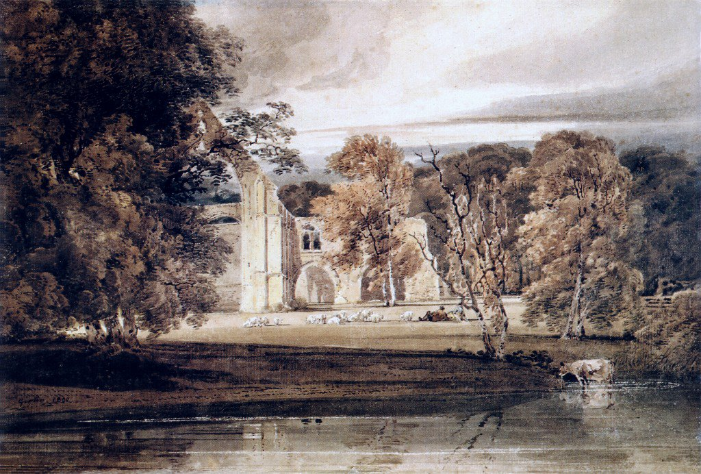 The East End of Bolton Abbey from across the River Wharfe | Thomas Girtin | oil painting