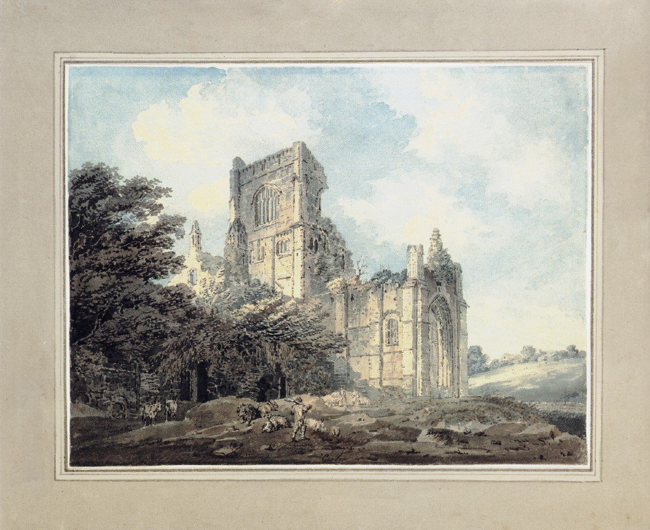Kirkstall Abbey Yorkshire from the South East   Thomas Girtin   oil painting