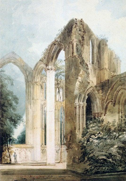Interior of Fountains Abbey the East Window | Thomas Girtin | oil painting