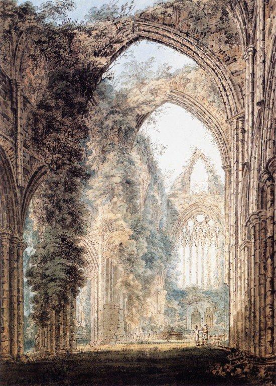 Interior of Tintern Abbey looking toward the West Window   Thomas Girtin   oil painting