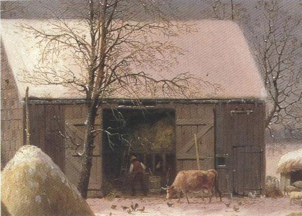 Farmyard In Winter 1858 | George Henry Durrie | oil painting