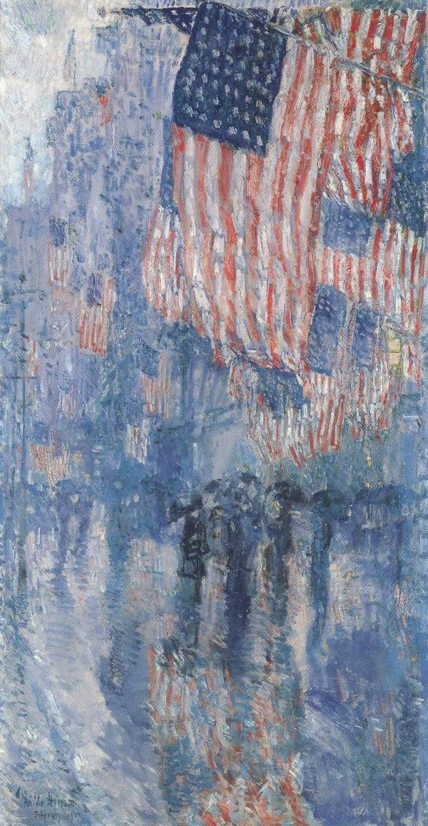 The Avenue In The Rain 1917 | Frederick Childe Hassam | oil painting