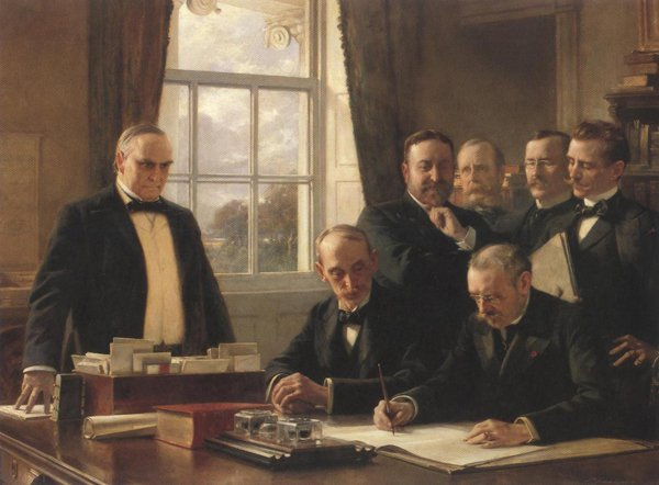 Signing Of The Peace Protocol Between Spain And The United States August 12 1898 | Theobald Chartran | oil painting