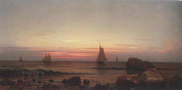 Sailing Off The Coast 1869   Martin Johnson Heade   oil painting