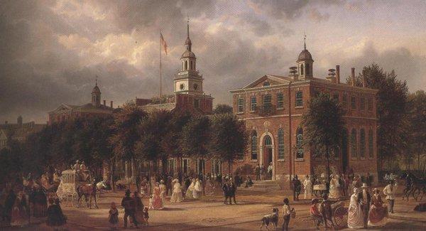 Independence Hall In Philadelphia 1858 63   Joachim Ferdinand Richardt(Reichardt)   oil painting