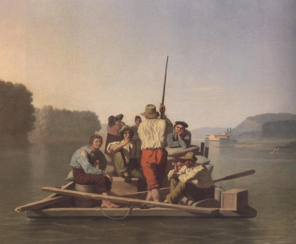 Lighter Relieving A Steamboat Aground 1847 1 | George Caleb Bingham | oil painting