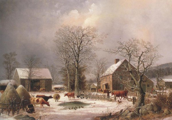 Farmyard In Winter 1847 | George Henry Durrie | oil painting