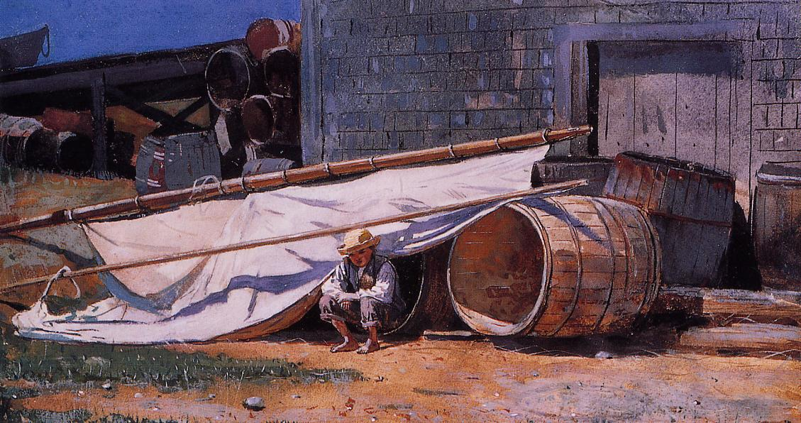 Boy in a Boatyard | Winslow Homer | oil painting