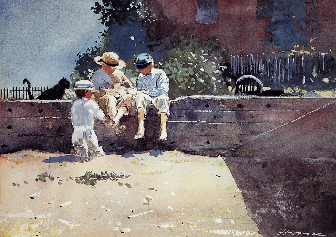 Boys and Kitten | Winslow Homer | oil painting