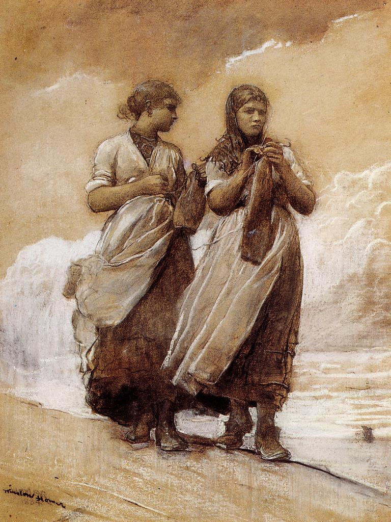 Fishergirls on Shore Tynemouth | Winslow Homer | oil painting